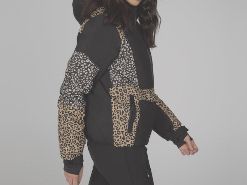 Aiko Leopard print jacket - true black